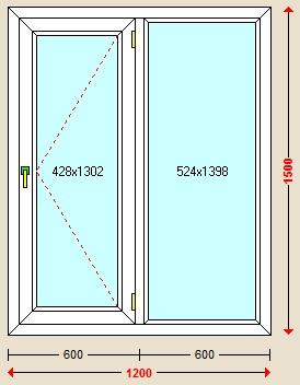 پنجره دوجداره با یراق تک حالته